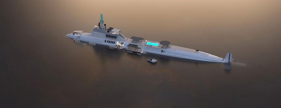 Migaloo Submersible Yacht navega num mar de ficção